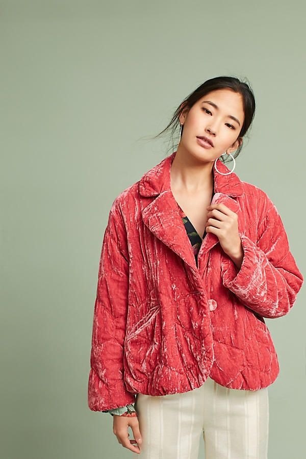 NWT Anthropologie Women's Quilted Velvet Rose Pink Cropped Puffer Coat Jacket  | eBay #anthropologie #velvet #luxefashionfinds