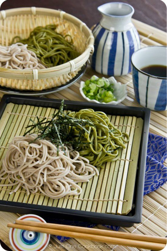 Zaru Soba Recipe | JustOneCookbook.com  Ingredients 14 oz. dried Soba Noodle (I also used cha soba (green tea soba) today) Dipping Sauce (tsuyu) Mentsuyu (For homemade Mentsuyu, click here.) Water or dashi stock to dilute Toppings 2 green onions, finely chopped Wasabi paste Kizami Nori (finely shredded Nori Sheets) Shrimp Tempura (optional) Vegetable Tempura (optional)