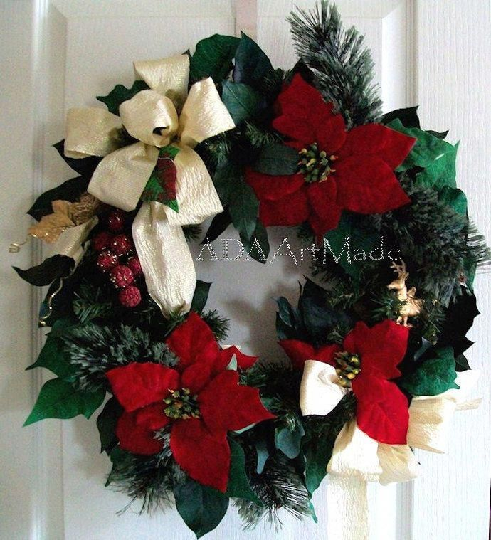 Free Shipping-Christmas Wreath,Traditional Christmas Wreath,Red Gold Green Door Christmas Wreath,Christmas Poinsettia Winter Winter Wreath