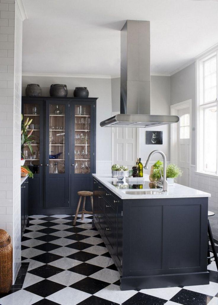 40 elegant black and white floor tile for your kitchen design checkered floor kitchen white on kitchen interior tiles id=12686