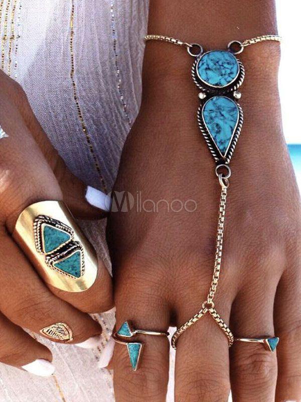 Blue Boho Bracelet Gems Jeweled Chains Women's…