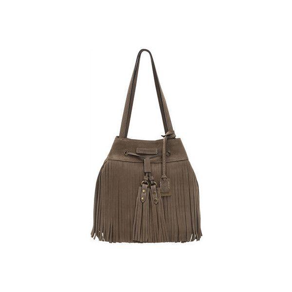 Women's Frye Heidi Fringe Bucket - Grey Suede Bucket Bags (450 CAD) ❤ liked on Polyvore featuring bags, handbags, shoulder bags, grey, bucket shoulder bag, fringe bucket bag, fringe purse, grey shoulder bag and grey suede handbag