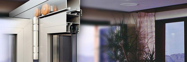 #porte #scorrevoli a libro Alumil M9800, termicamente non isolate, serie economica. Larghezza dei profili 50 mm, peso battente ≤200 kg, larghezza del montante 55 mm e spessore vetro ≤50 mm