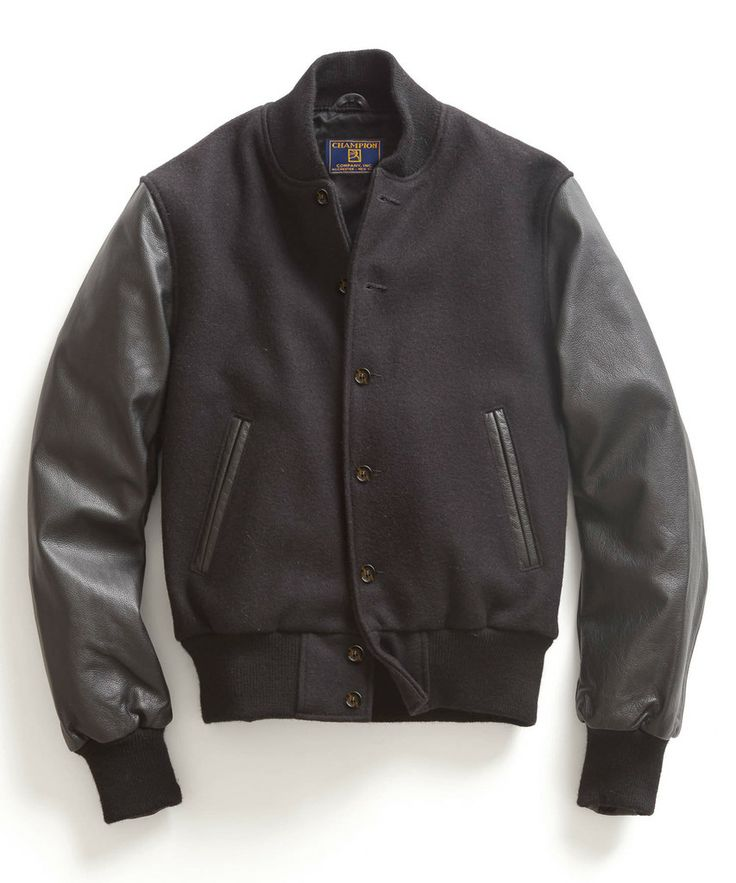 Todd Synder x Champion Sportswear Black Leather Letterman Jacket