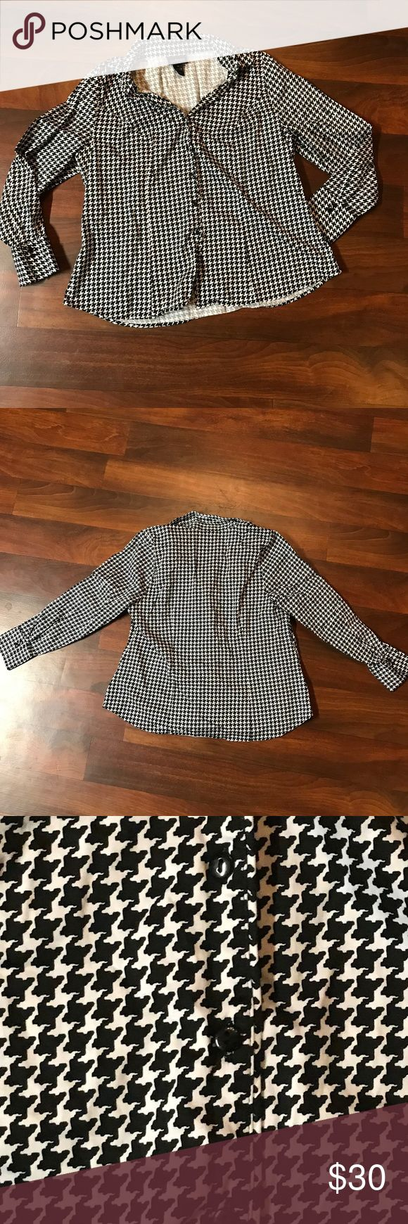 Lane Bryant Plus Size Black White Houndstooth Top Lane Bryant Plus Size Black White Houndstooth Dress Shirt  Black and white houndstooth button up dress long sleeve shirt Size 18 Brand Lane Bryant Cotton Blend Fabric  Measurements Length: 25 inches Chest: 22 1/2 inches laying flat underarm to underarm  * Excellent condition with no sign of wear, tear, or stains. * Smoke Free Home * Pet Free Home * Daily Shipper * Save with bundle discount! * Open to reasonable offers.  010418 Lane Bryant…
