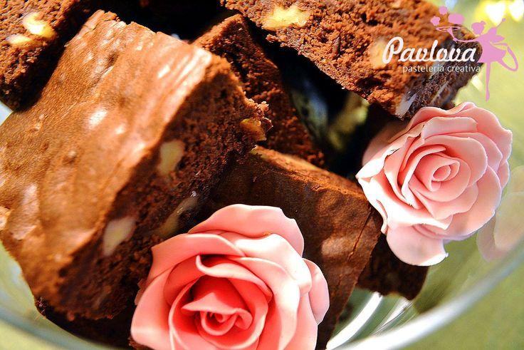 Brownie flores fondant