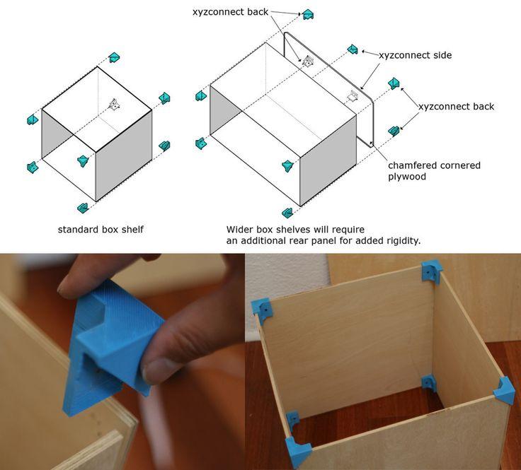 Attraverso la stampa 3D  creare il proprio sistema di scaffalatura è facile e divertente; nel workshop xyz i pannelli di compensato vengono assemblati da moduli stampati in 3D per realizzare lo scaffale o il contenitore su misura.