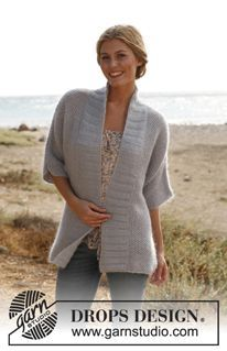 "Knitted DROPS jacket with seed st in ""BabyAlpaca Silk"" and ""Kid-Silk"". Size S-XXXL ~ DROPS Design"