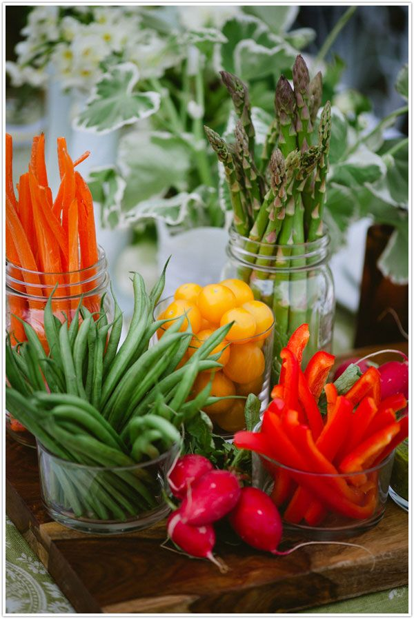 A beautiful vegetable crudite display, where carrots, peppers, asparagus, green beans and tomatoes are stood upright and ready for dipping.Ideas, Food, Parties, Green Beans, Veggies Trays, Veggies Display, Appetizers, Centerpieces, Mason Jars