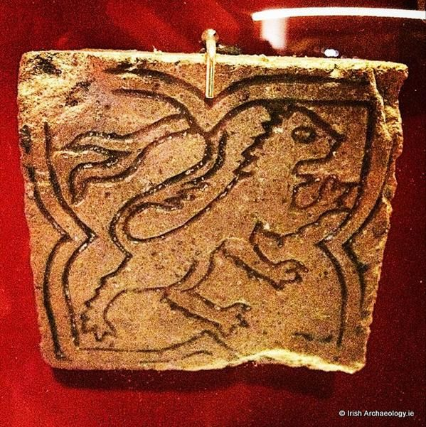 14th century floor tile, featuring a lion rampant, from Waterford
