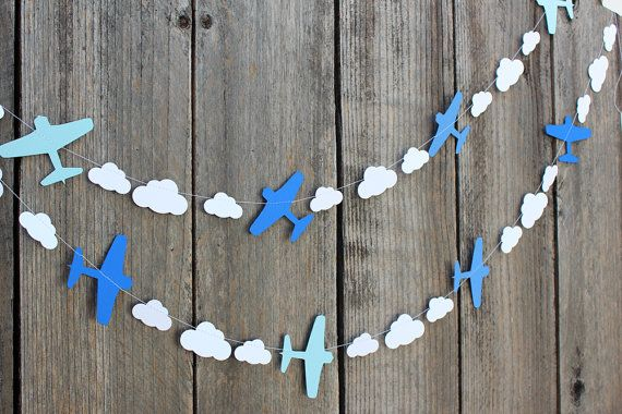 Airplane and clouds paper Garland custom colors by 1PixiePlace