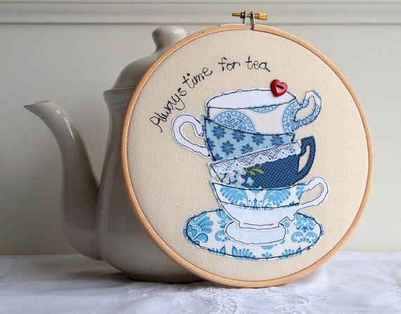 Embroidery hoop teacups stack freehand machine by rachelandgeorge, £20.00