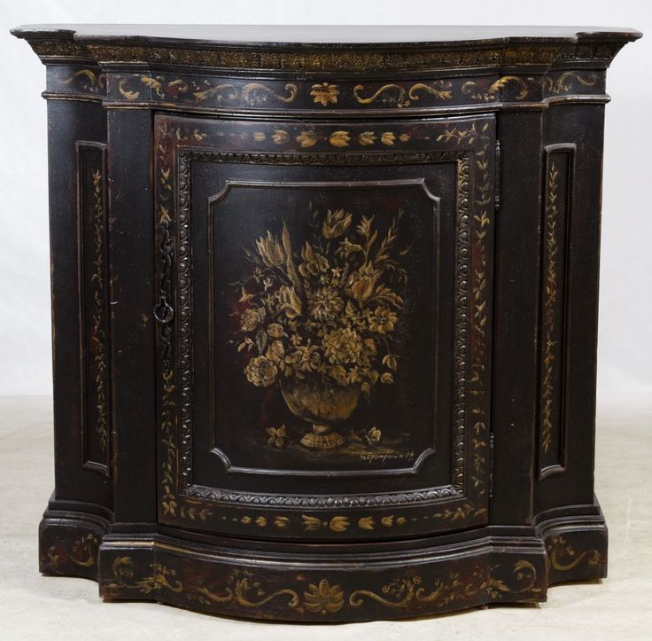 Lot 100: Hand Painted Bombay Hall Cabinet by Habersham; Contemporary, having a single wood door covering two adjustable shelves, hand painted floral design; name tag on back
