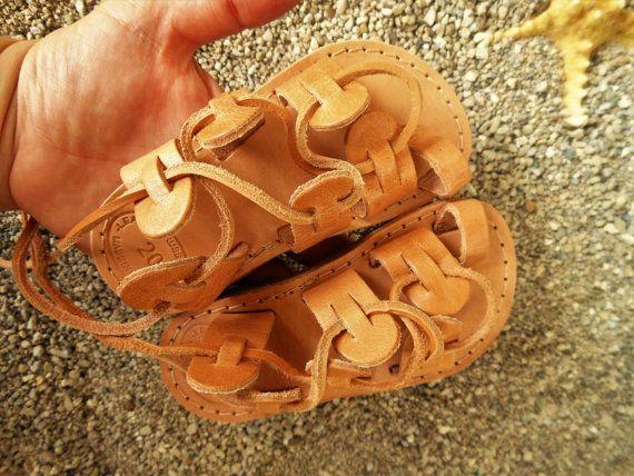 Girl / Boy Sandals Boho Tie up Leather Sandals Genuine