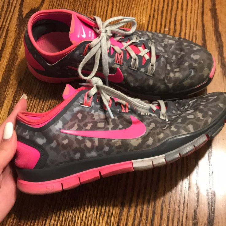 Nike Shoes | Nike 5.0 Pink Cheetah Running Shoes | Color: Gray/Pink | Size: 8