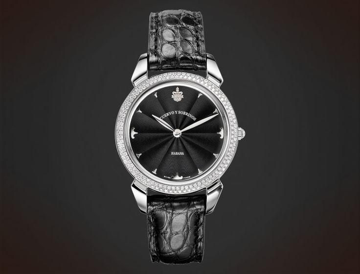 Cuervo y Sobrinos Historiador Lady. Diamonds black guilloché #watch