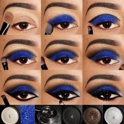 This electric blue eye pictorial has 9 easy steps for a show-stopping look. Electric blue eye shadow works against the shading to make your eyes pop for any night out.