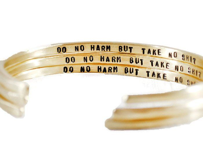 Do No Harm Personalized Brass Cuff Bracelet.