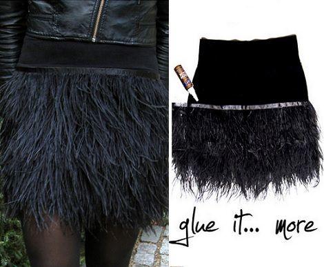 como hacer una linda falda de plumas