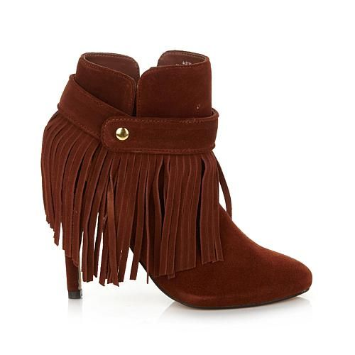 "June by June Ambrose ""Firenze"" Suede bootie with Fringe - Tan"