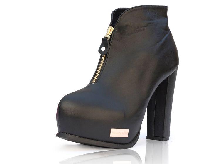 Bottines à talon Fabiano Ricco® Chaussures femmes cheville Noir Top Qualité