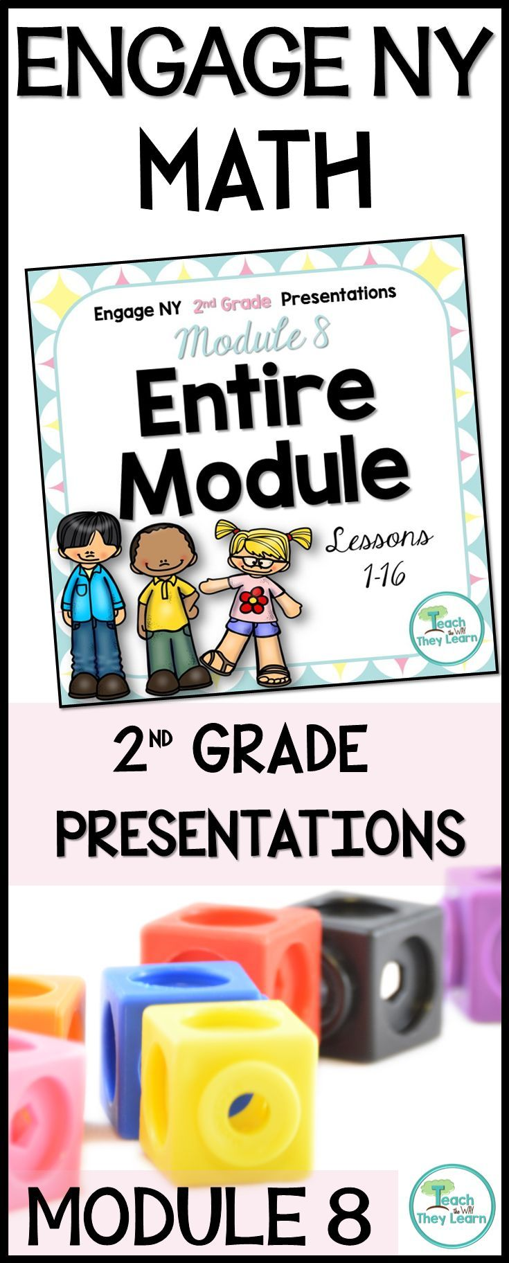 Second grade Engage NY presentations to teach math lessons for the entire module. Covers all lessons in the listed Engage NY math 2nd grade module. Engage NY/Eureka math are Common Core Aligned and awesome math curriculum, but hard to teach from a manual. Put down your lesson plans and use these Engage New York presentations to keep students engaged. PDF format allows slides to work in classrooms that use interactive whiteboards or anywhere you would show a Power Point presentation.
