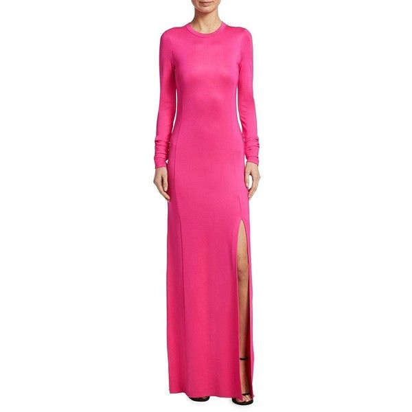 Elizabeth and James Fallon Jersey Side Slit Gown (€345) ❤ liked on Polyvore featuring dresses, gowns, pink jersey, ruching dress, long sleeve ball gowns, pink gown and pink evening gowns