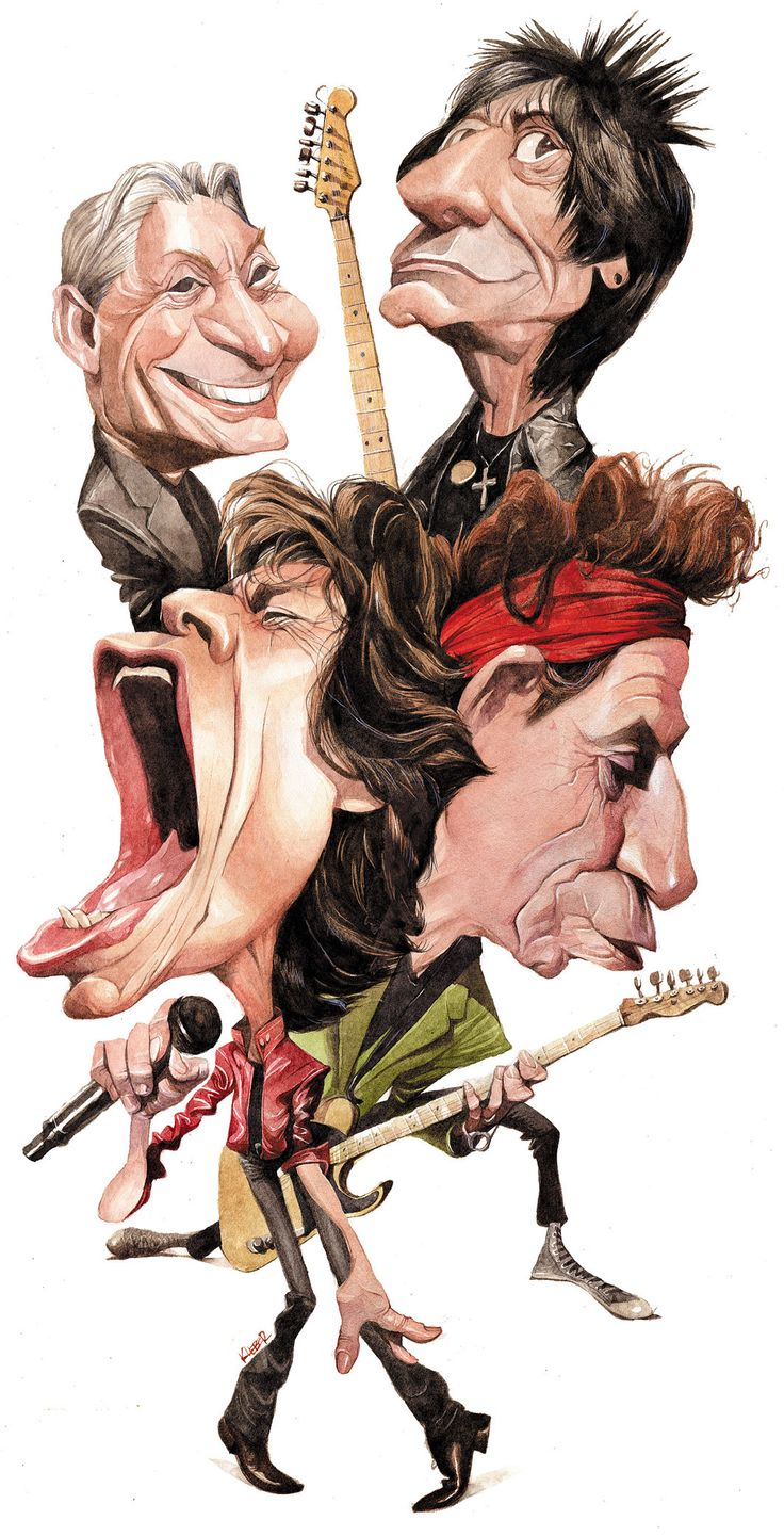 Caricatura feita para o jornal alemão Bild am Sonntag em junho de 2015, pelo aniversário de 50 anos da canção Satisfaction, dos Rolling Stones