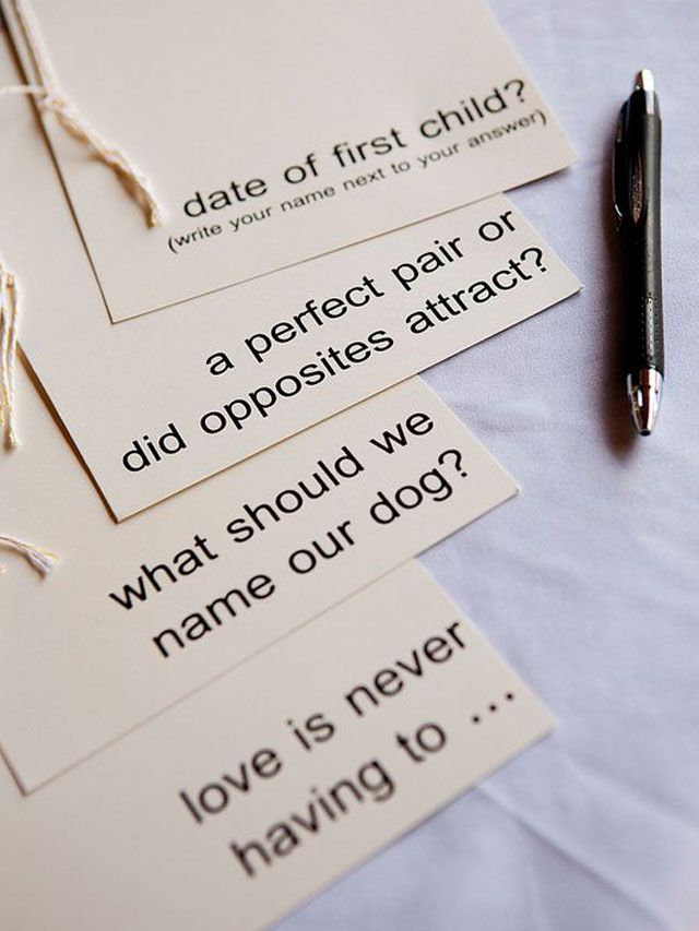 Have guests make a prediction/answer a question.  Fun way to have guests participate or leave advice