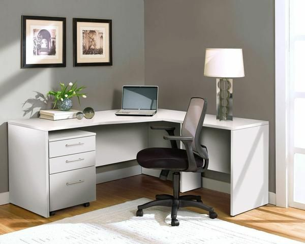 L Shaped Desk With Mobile File In White