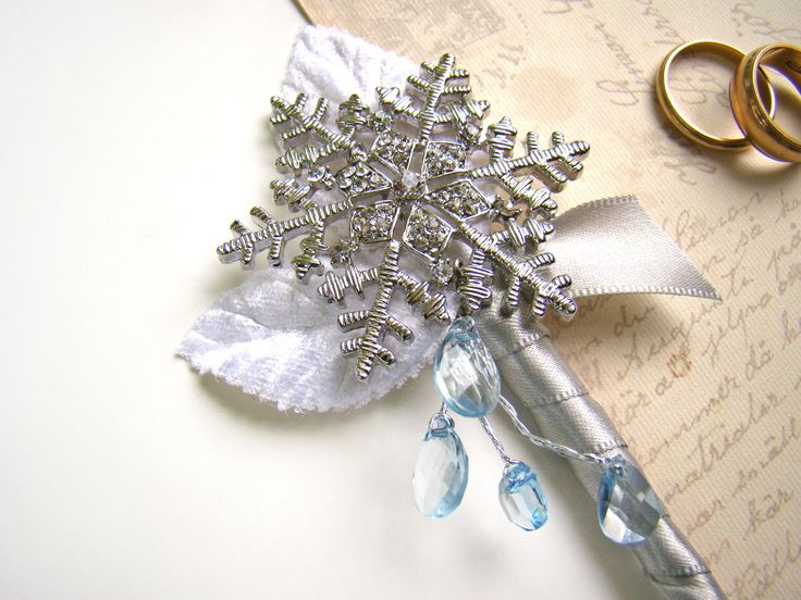 Snowflake Brooch Boutonniere, Men's Lapel Flower, Winter Wonderland Wedding, Groom's Flower, Brooch Boutonniere, White Silver Ice Blue by TwiningVines on Etsy
