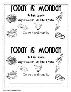 Today is Monday Emergent Reader - Jessica Jaramillo - TeachersPayTeachers.com (free)