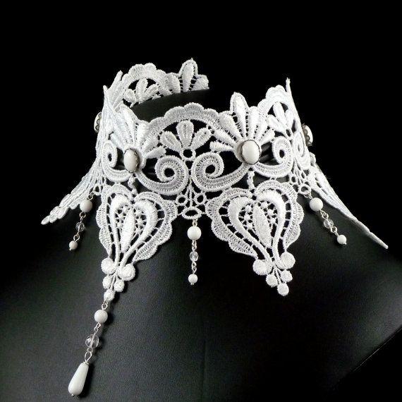 White Victorian Choker Necklace - Lace Bridal Jewelry - Large Chocker Bib Wedding Renaissance Costume Jewellery for Women - Romantic. $75.00, via Etsy.