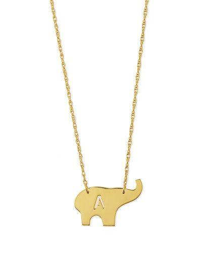 Moon And Lola Nala Elephant Initial Pendant Necklace, 16L