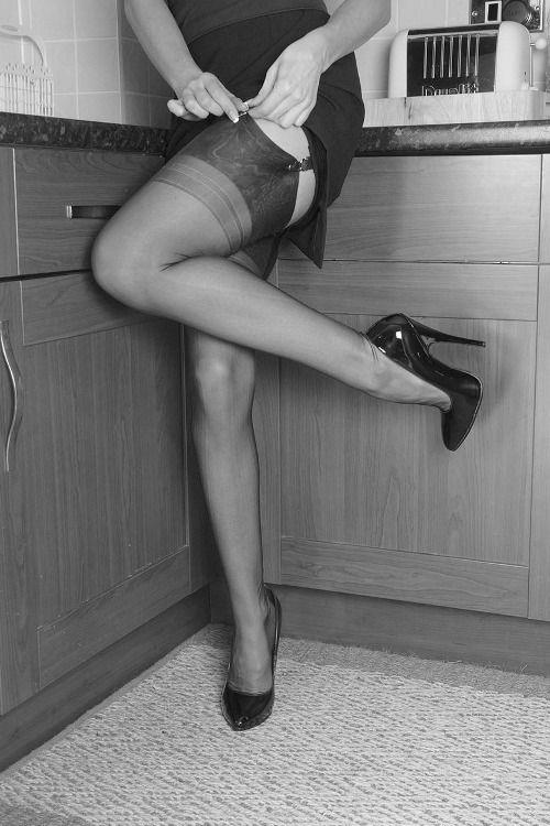 Sexy stockings high heels upskirt retro fuck picture