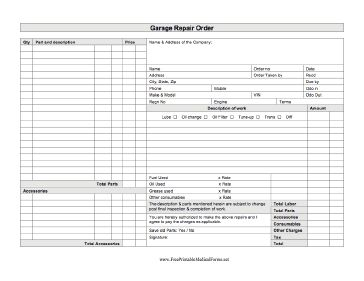 An auto mechanic can use this printable business form to ...