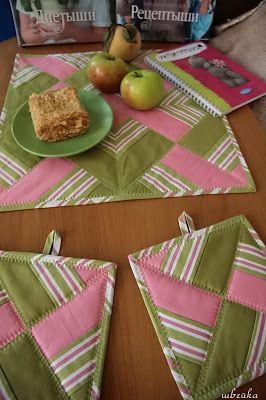 набор прихваток и салфетки яблочный пирог