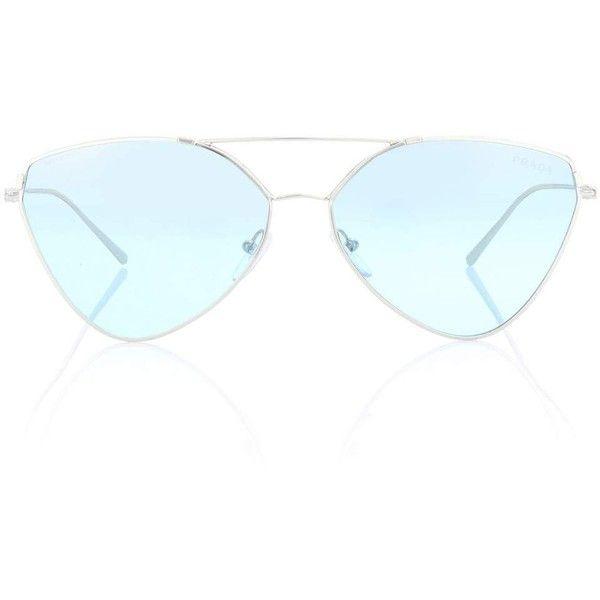 Prada Aviator Sunglasses ($355) ❤ liked on Polyvore featuring accessories, eyewear, sunglasses, blue, blue sunglasses, prada, blue glasses, prada glasses and prada sunnies