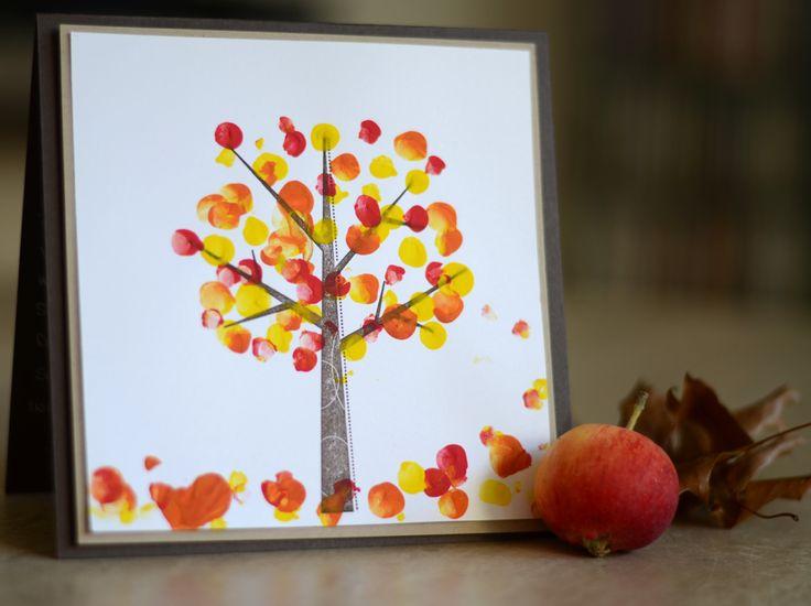 Baum Herbst Fingerfarbe Blätter