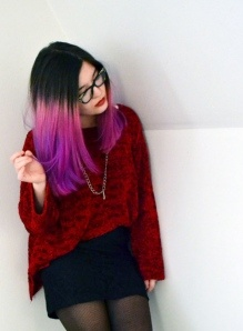 More dip! Bleach 2/3s length of hair, graduate through hair the following Directions colours: Pastel Pink Carnation pink Violet/white toner mix Carnation pink on the very tips
