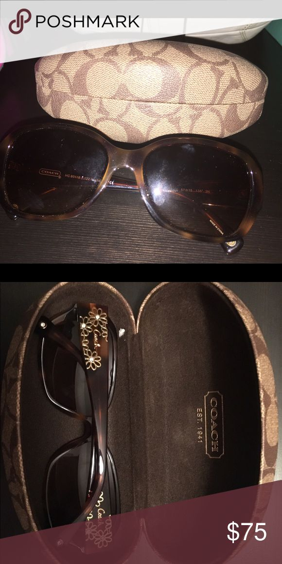 Coach Sunglasses with Crystal Detailing Gorgeous and classic sunglasses! Only worn a handful of times and NO scratches. Comes with Coach case. Coach Accessories Sunglasses