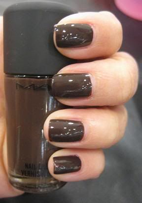 mac - cocoa rich dark and delicious. Great winter color...would look great with a cream colored accent nail with dots of cocoa color placed with a dotting tool