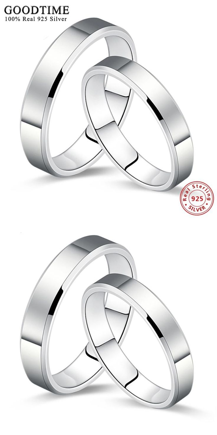 [Visit to Buy] Wholesale 925 Silver Jewelry Ring Simple Smooth Pure Solid Silver Couple Wedding Set 925 Sterling Silver Rings for Women or Men #Advertisement
