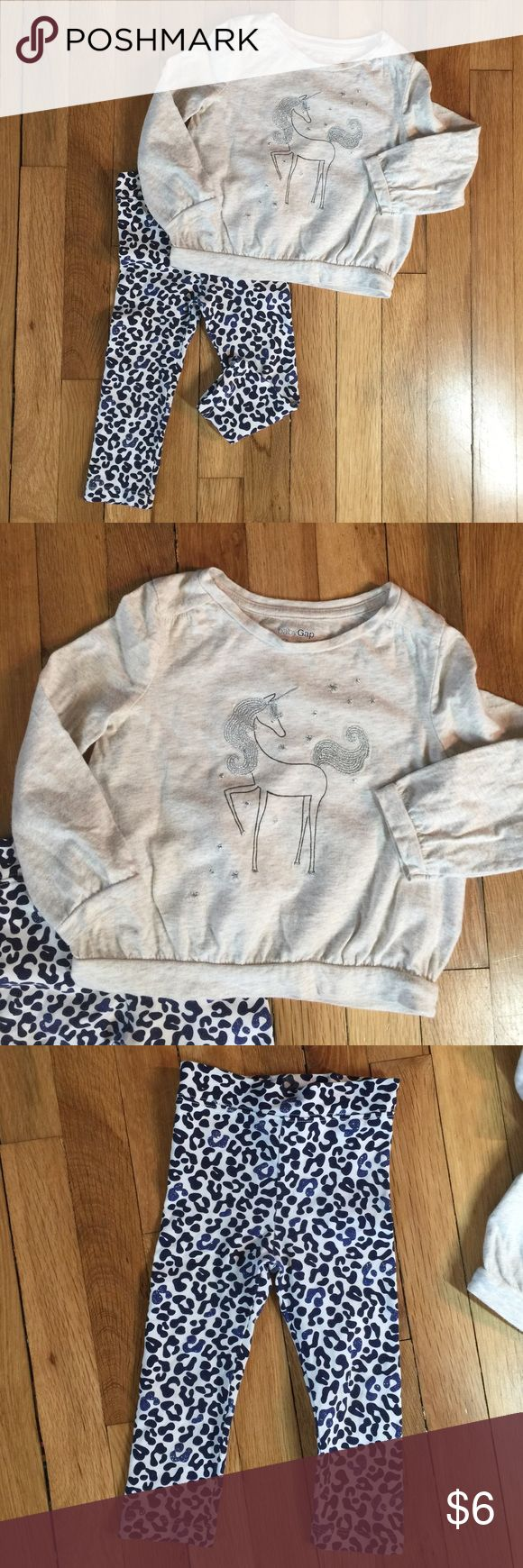 Girl's unicorn top and leopard print legging. Top: Gap. Legging: Hartstrings. Both of them are in very good condition. No stains, no marks. GAP Bottoms Leggings