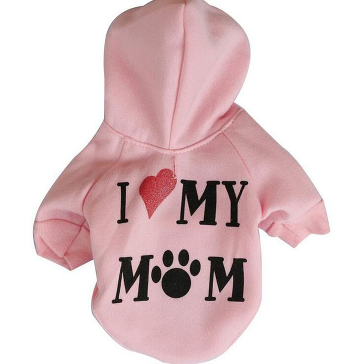 "Pet Dog Clothes - ""I Love My Mom"" Dog Hoodies"