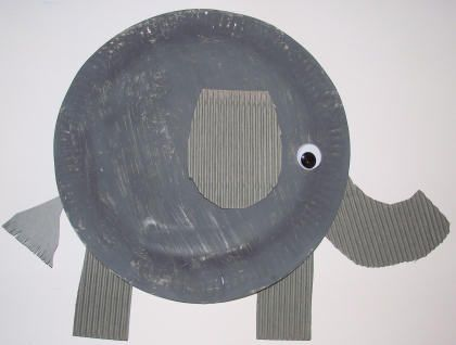 Land Animals - Paper Plate Elephant (paint, cutting out the pieces, and gluing them together)