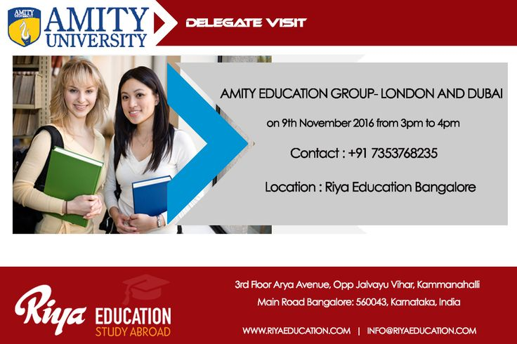 Amity Delegate Visit at Riya Education Bangalore. Come and meet the delegate to get first hand information. Visit our website for details.