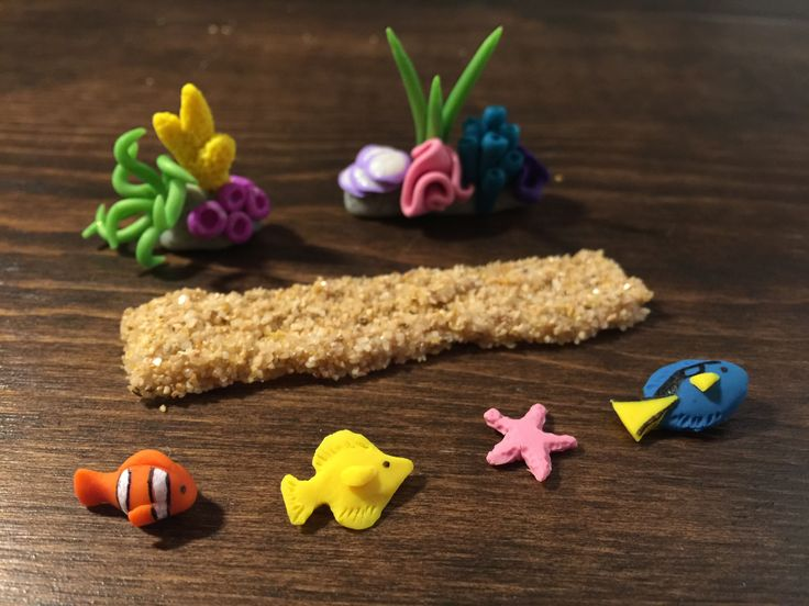 Polymer clay miniature reef, sandbar, and fish. Getting ready to pour a resin aquarium!  https://www.etsy.com/shop/TinyTropicals