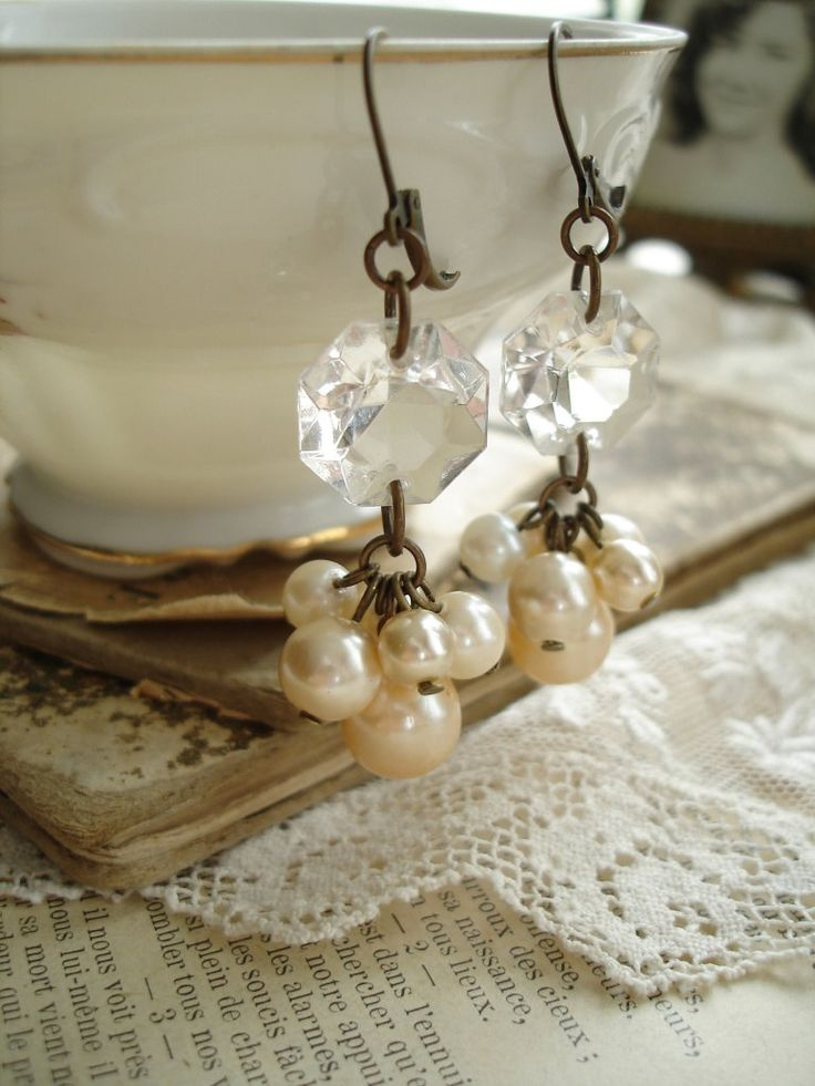 CHAMPAGNE BUBBLES - Pearl Cluster Earrings. Chandelier Crystal Earrings. Shabby Bohemian Glass Champagne Pearls. Vintage Assemblage Jewelry.. $44.50, via Etsy.