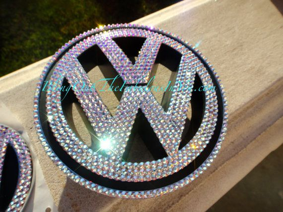 Volkswagen Bling Emblem, Bling VW Emblem, Swarovski Volkswagon Emblems by Crystal Fetish, Bedazzle my Volkswagon, Bling Jetta Emblems on Etsy, $244.99